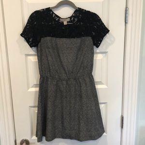 Michael Kors black and white cinch waist dress